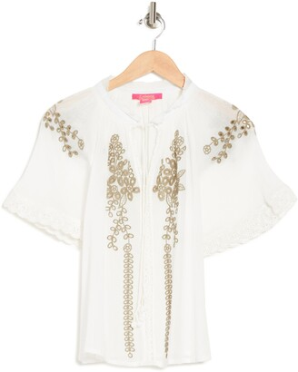 Embroidered Eyelet Lace Blouse