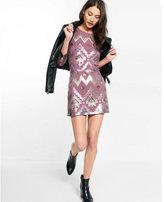 Express geometric sequined long sleeve dress