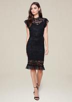 Bebe Lace Ruffle Trim Midi Dress