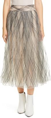 Brunello Cucinelli Sequin Argyle Tulle Midi Skirt