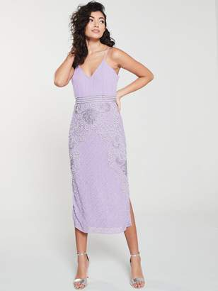 Frock and Frill Frances Cami Midi Dress with Embellished Pencil Skirt - Lilac