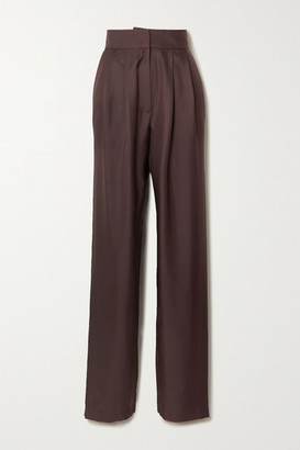 TOVE Remi Pleated Silk-satin Tapered Pants - Brown