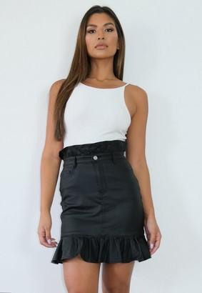 Missguided Black Coated Drop Waist Pleated Mini Skirt