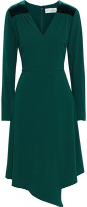 Mikael Aghal Asymmetric Velvet-trimmed Crepe Dress