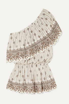 Isabel Marant Astrid One-shoulder Tiered Embellished Printed Cotton-gauze Top