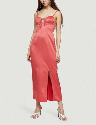 Topshop Bustier-detail satin midi dress