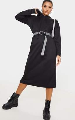 PrettyLittleThing Stone Tie Neck Midi Hoodie Jumper Dress