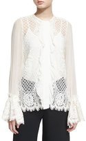 Alexis Amilina Long-Sleeve Lace Silk-Trim Top
