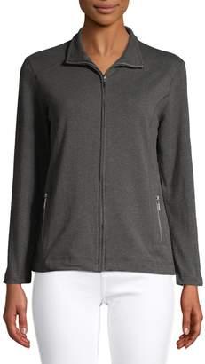 Karen Scott Petite Stretch Cotton Mock Neck Zip Jacket