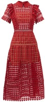 Self-Portrait Peter Pan-collar Heart-patterned Lace Dress - Womens - Burgundy