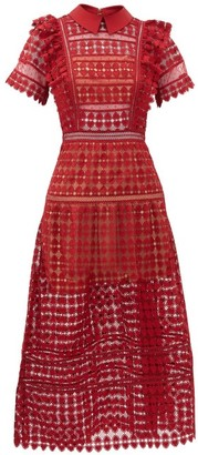Self-Portrait Self Portrait Peter Pan-collar Heart-patterned Lace Dress - Womens - Burgundy