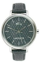 Lacoste Women's 2000887 Nice Silver-Tone Stainless Steel Watch With Black Leather Band