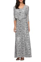Alex Evenings Petite Women's Sequin Embroidered Mesh A-Line Gown & Jacket