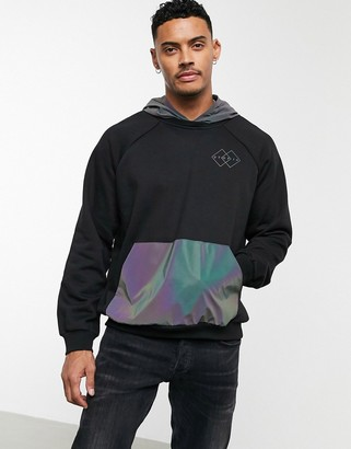 Bershka hoodie with reflective hood and pocket in black