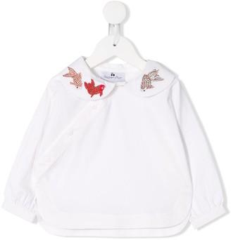 Raspberry Plum Embroidered Fish Shirt