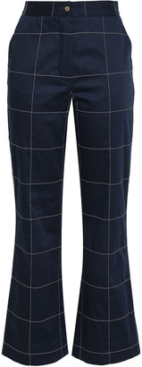 Stella Jean Checked Cotton-blend Sateen Flared Pants