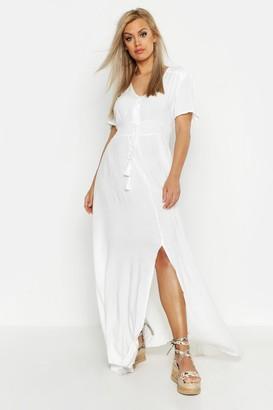 boohoo Plus Ruched Waist Maxi Dress
