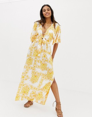 Seafolly sunflower maxi beach dress in yellow