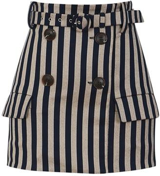 Jonathan Simkhai Structured Stripe Double Breasted Skirt