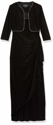 Alex Evenings Women's Matte Jersey Side Wrap Long Dress and Rhinestone Trim Bolero Jacket