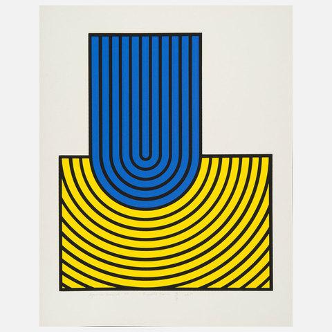 Harold Krisel Ripple Form Blue Yellow Print