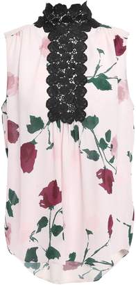 Kate Spade Lace-trimmed Floral-print Silk-crepe Blouse
