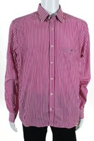 Lacoste Pink White 100% Cotton Blend Striped Long Sleeve Dress Shirt Size 42 New