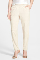 Lafayette 148 New York Genuine Suede Track Pants with Piping
