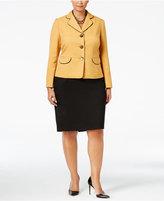 Le Suit Plus Size Colorblocked Three-Button Skirt Suit