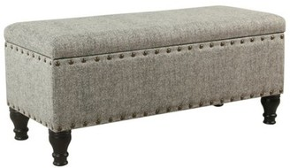 HomePop Large Storage Bench with Nailhead Trim - Black and Cream