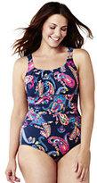 Classic Women's Plus Size Slender Scoop One Piece Swimsuit-Celestial Blue Summer Paisley