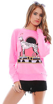 Wildfox Couture Neon Nouveau Dalmation Destroyed Sweater in Party Girl