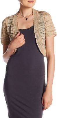 Eliza J Short Sleeve Crochet Sweater