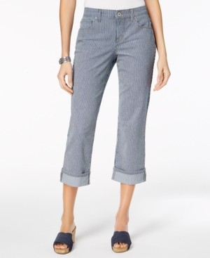 Style&Co. Style & Co Petite Curvy-Fit Striped Capri Jeans, Created for Macy's
