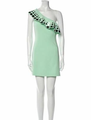 David Koma One-Shoulder Mini Dress w/ Tags Green
