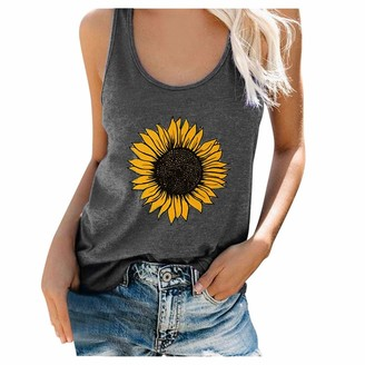 Beetlenew Womens Blouses Women's Tank Tops Plus Size Summer Sleeveless Sunflower Print Basic T-Shirt Casual Loose Beach Vest Top Sports Pullover Camis Graphic Tee Shirt Camisole Blouse for Teen Girls (XXL