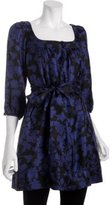 cobalt floral silk belted tunic