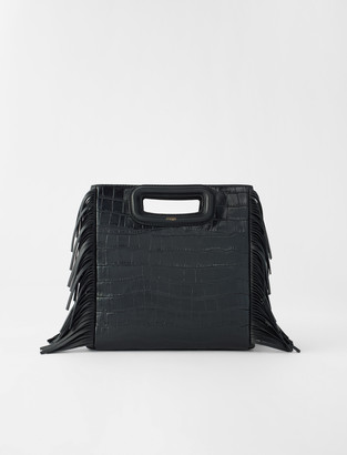 Maje Crocodile-effect leather M bag