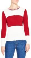 Sandro Women's Colorblock Half Zip Sweater