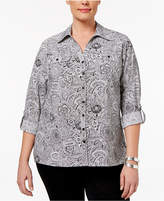 NY Collection Petite Plus Utility Blouse