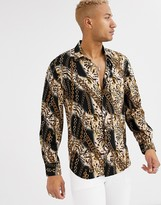 Devils Advocate viscose long sleeve leopard chain print oversized shirt