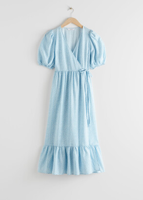 And other stories Puff Sleeve Wrap Maxi Dress