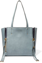 Chloé Milo Suede-trimmed Leather Tote - Gray green