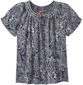 Joe Fresh Women's Print Smock Neck Top, Dark Navy (Size XS)