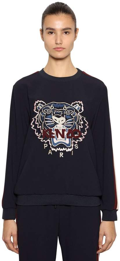 Kenzo Tiger Embroidered Crepe Sweatshirt