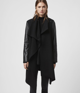 AllSaints Monument Lea Wool And Leather Coat