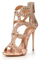 Amy Q Laides Rhinestone Open Toe Cut Out Zipper High Heel Sandals Shoes For Wedding Party Dress Place PU US 8