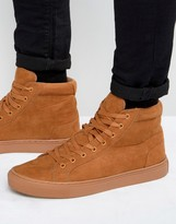Asos High Top Sneakers in Tan Faux Suede