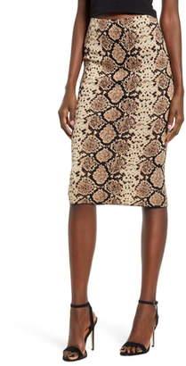 J.o.a. J.O.A.Snake Jacquard Knit Pencil Skirt