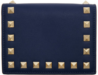 Valentino Blue Garavani Rockstud French Flat Wallet